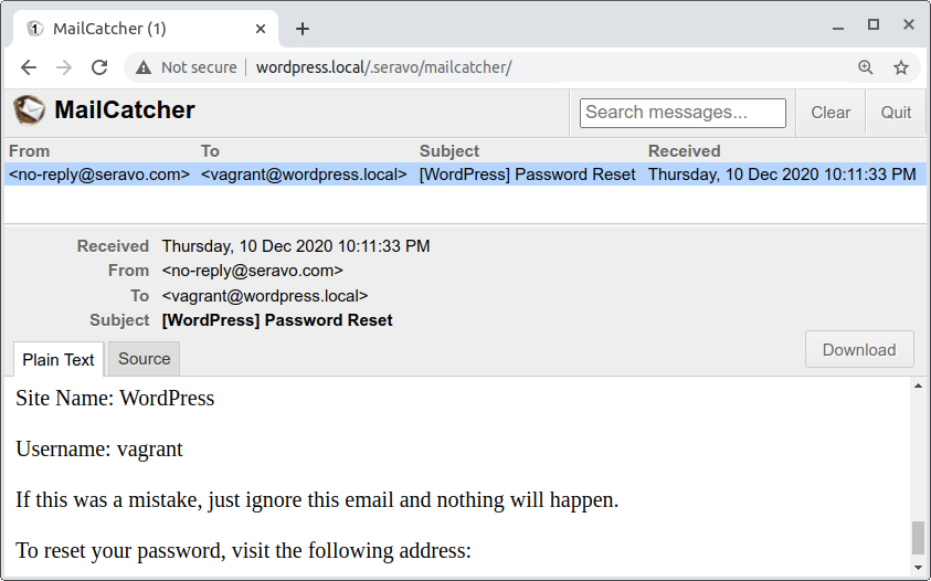 mailcatcher in Vagrant