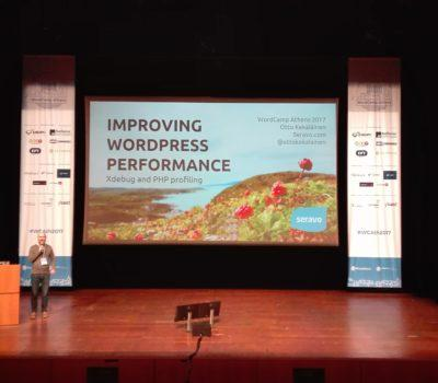 Otto giving his talk at WordCamp Athens 2017