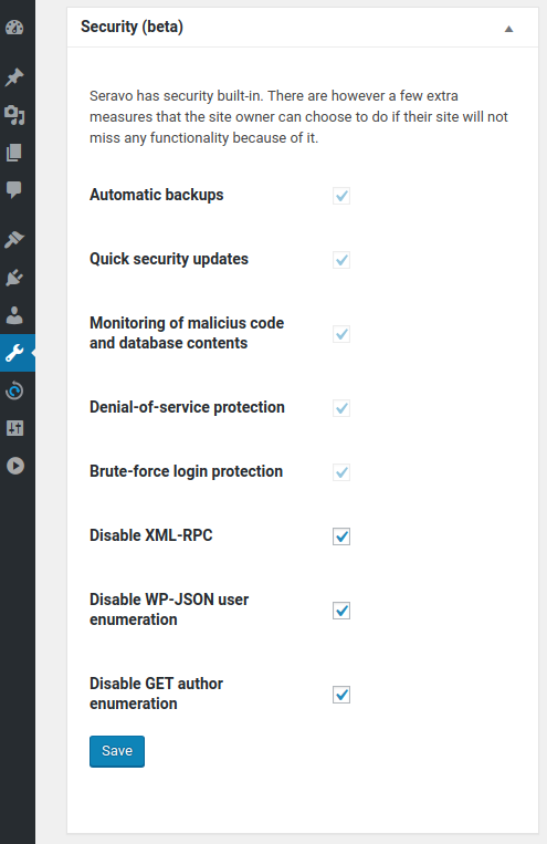 Seravo security settings for WordPress