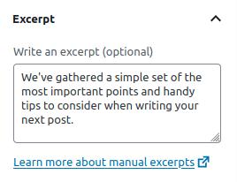Screenshot of the WordPRess Excerpt field