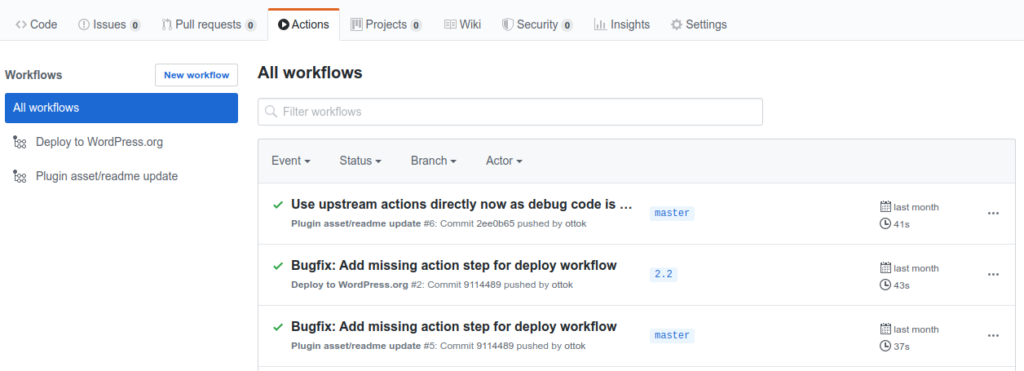 Github Actions running