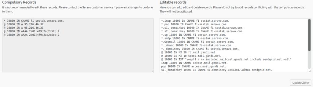 DNS records edit view
