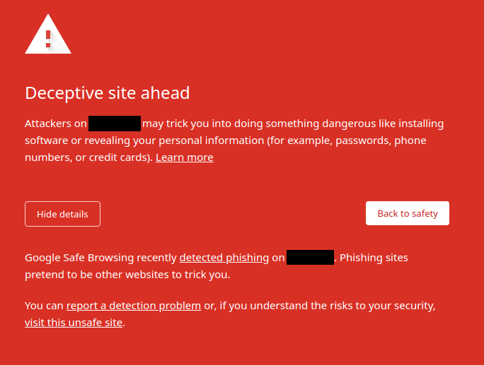 Google Chrome suggest that the site is malicious