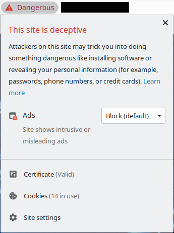 Chrome giving details of a security warning for a website